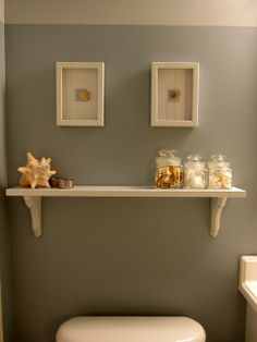 beach inspired bathroom ideas with Valspar Autumn Fog paint color - madiganmade.com