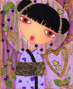 Geisha Mixed Media Whimsical Folk Art
