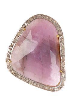 White Diamond & Pink Sapphire Ring
