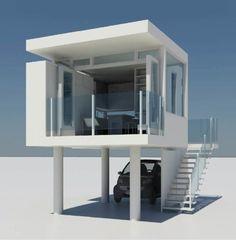 220sqft Prefab house on stilts small house design, modern home design, new homes, tini hous, tiny houses, small home design, small house plans, small houses, small homes