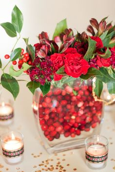 A winter wedding centerpiece, photographed by Sara Hasstedt {http://www.sarahasstedt.com/}.