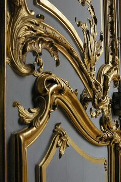 Rococo door detail gold and gray