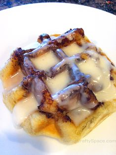 Waffle Iron Cinnamon Rolls - Pilsbury cinnamon rolls cooked in a waffle iron. Breakfast in three minutes - genius!