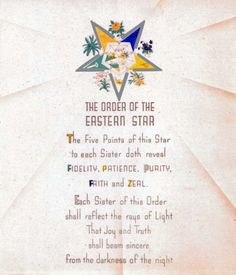 Antique Order of The Eastern Star Poem Print Ring Art Poster OES Masonic | eBay