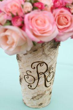 Birch bark wood vases