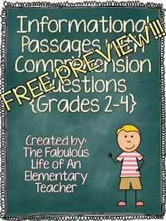 *FREE PREVIEW* Common Core Reading Test Prep Set 3 {Grades 2-4}