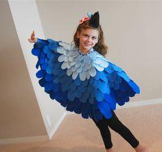 diy costumes, bird costum, bluebird, halloween costumes, cape