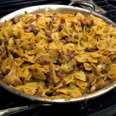 Cauliflower & walnut pasta - sounds tasty - and a combination I'd not...