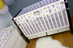Crib Bedding, Baby Bedding, Nursery Set, Purple Gray Yellow Owls Stripes Chevron Dots