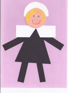 Simple Pilgrim girl using geometric shapes