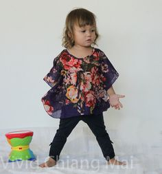 Kids kaftan caftan Toddler  top floral size 2T age by VividDress, $15.00