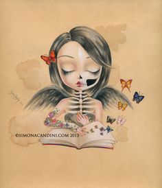 You Can Fly LIMITED EDITION print signed numbered Simona Candini lowbrow pop surreal big eyes sugar skull girl gothic art on Etsy, $30.00