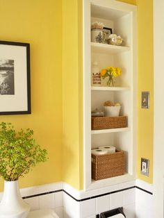 built in shelves between studs in wall, extra storage for toiletries and towels