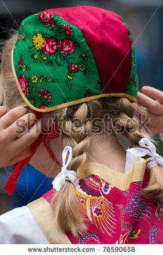 Backhead of Swedish girl in a traditional Swedish national costume, Celebrating midsummer