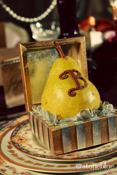 Learn how to do this beautiful pear favor in its box from our stylized editorial photo shoot.     www.hillcitybride.com  photo: stoneblueproductions.com