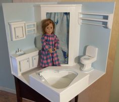 DOLL HOUSE OR DOLL FULL BATHROOM for 18in or  #American Girl doll #cmcraftedtreasures... Too cute!
