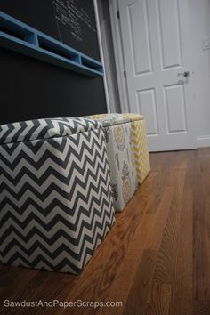 DIY Upholstered Storage Bench --Plans from Sawdust and Paper Scraps