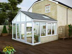 Modern glass and aluminium conservatory