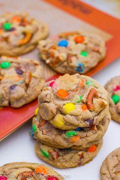 Brown Butter Pretzel M+M Cookies
