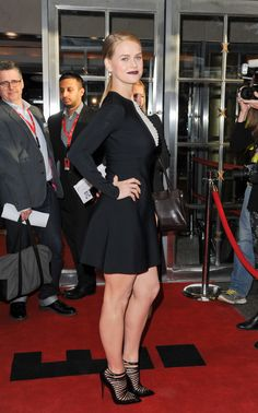 Alice Eve appearance at TIFF promoting Before We Go wearing a curve hugging little black dress and caged high heels.