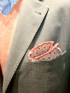 Perfect summer pocket square in a light grey suit from Brunello Cucinelli.