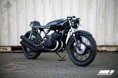 Kawasaki Cafe Racer Custom › The Black Kawasaki 250 Cafe Racer Twin