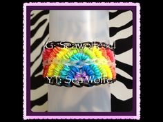 Rainbow Loom MEGA RAINBOW Bracelet. Designed and loomed by Sea wolfe. Click photo for YouTube tutorial. 04/12/14.