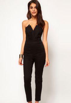 Black V Neck Backless Jumpsuit - Sheinside.com