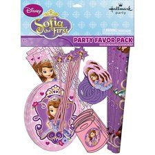 Sofia the First Party Favor Pack for 8 Guests.  One Sofia the First Party Favor Pack for 8 Guests contains:       8 Large Stickers      8 Party Activity Sheets      8 Kaleidoscopes      8 Rings      8 Rulers      8 Wands  Find this at https://www.ezpartyzone.com/pd-sofia-the-first-party-favor-value-pack-for-8-guests.cfm