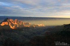 Sun rays of sunset lights the canyon - North Rim Grand Canyon