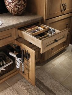 Diamond Lowes | Organization Cabinets. Fantastic hair appliances holder, double layer drawer organizers.