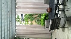 Outdoor curtains from painters canvas drop cloth.
