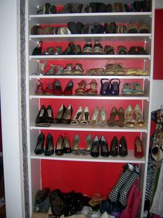 shoe organization. shelving system from home depot & dad's handy work.  (:  @Courtney Wilkerson