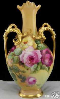 Limoges Vase, Carmel. #roses  Hand painted