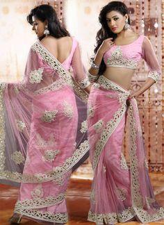 Lovely Pink Net Saree