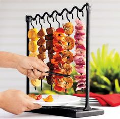 Love this idea for a small party.   What could be better for entertaining than a SKEWER STATION! Let guests choose their favorites from grilled meats, veggies, fruits etc. $19.99