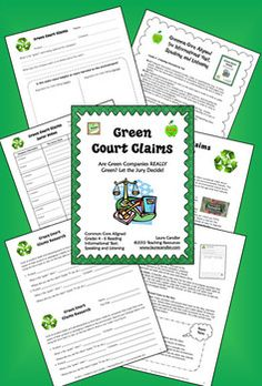 Freebie! Green Court Claims CCSS-aligned research and writing activity for Earth Day (or any day) -Students investigate claims companies make about their products and business practices to imply that they are environmentally friendly. This lesson would work well in a unit on propaganda or as an environmental science lesson. Common Core Aligned with grade 4, 5, and 6 Informational Text Standards as well as the Speaking and Listening Anchor Standards for all grades.