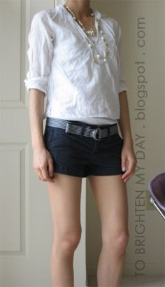 """Sweatsuit alternative: khaki shorts, belted, with classic white shirt. Make these shorts 10"""" longer and they're perfect for running errands or relaxing on the weekend."""