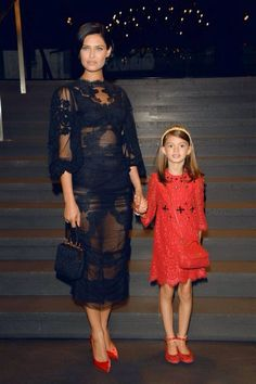 Bianca Balti with her daughter at Dolce & Gabbana #MFW