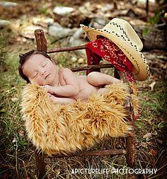 Rustic western cowboy newborn baby boy photo shoot ideas