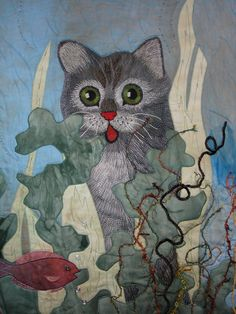 dinner, quilt cat, art quilt, cat quilt, calico cats