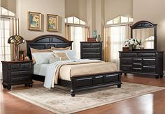 Berkshire Lake Black  5 Pc Queen Bedroom at Rooms To Go.