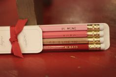 A beautiful set of wooden pencils with sweet nothings stamped in gold foil. Perfect for writing love letters.