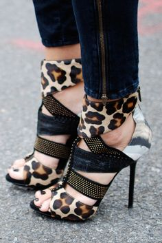 leopard shoes, hot shoes, fashion shoes, heel, mixed prints
