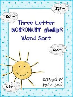 FREE 3 letter consonant blends word sort activity with student handout