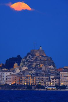 Clouded Full Moon & the Old Fortress of Corfu