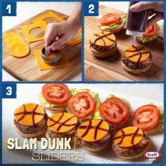 Basketball fans get ready! Gear up for the next round of games with these slam dunk sliders jazzed up with Oscar Mayer bacon and a touch of BBQ sauce. #recipe #basketball #burger #cheese #snack #fingerfood #entertaining #tournament