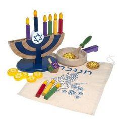 Love this wooden Hanukkah playset