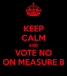 KEEP CALM AND VOTE NO ON MEASURE B