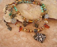 BEE Jewelry Boho Necklace Bumble Bee and Honey by BohoStyleMe